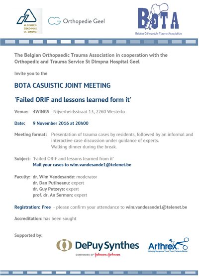 Promo Organisatie Meeting Belgian Orthopaedics and Trauma Association (BOTA) was een succes